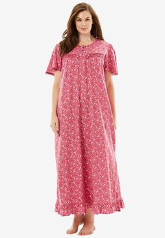 Long Cotton Gown by Dreams & Co®, BRIGHT BERRY FLORAL, hi-res
