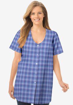 Seersucker V-Neck Shirt,