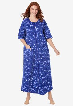 Long French Terry Zip-Front Robe,