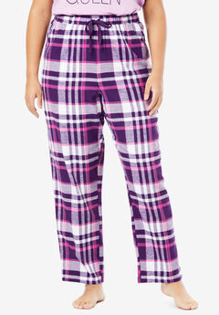 Cotton Flannel Pants by Dreams & Co.®, RICH VIOLET PLAID