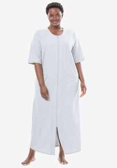 Long French Terry Robe by Dreams & Co.®, HEATHER GREY