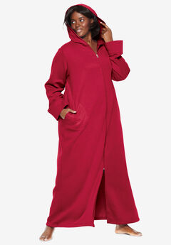 Hooded Fleece Robe by Dreams & Co.®, CLASSIC RED