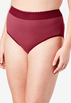 3-Pack Lace Waistband Full-Cut Brief by Comfort Choice®, POMEGRANATE PACK