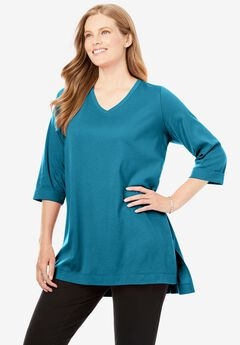 Longer Length Three-Quarter Sleeve V-Neck Tunic,