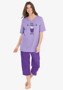 2-Piece Capri PJ Set , PLUM BURST DOT