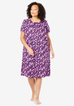 Short Print Shirred Lounger by Only Necessities®, RICH VIOLET FLORAL DOT