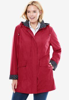 Raincoat in new short length with fun dot trim,
