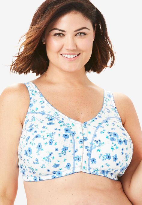 41cf346fac40 Cotton Front-Close Wireless Bra by Comfort Choice®  Plus Size Front ...