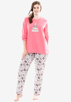 Holiday Print PJ Set by Dreams & Co.®, HEATHER GREY GIFTS, hi-res