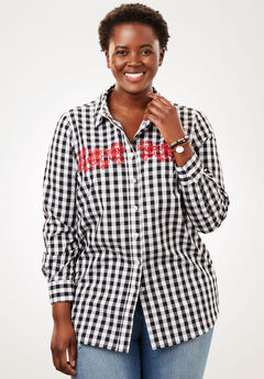 Perfect Long-Sleeve Button Down Shirt, EMBROIDERED BLACK WHITE GINGHAM
