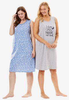 2-Pack Sleeveless Sleepshirts by Dreams & Co., HEATHER GREY MOON, hi-res