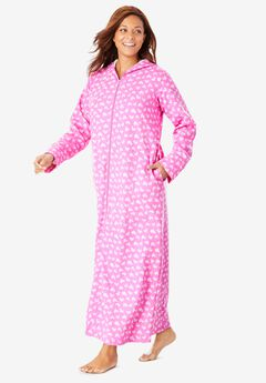 Hooded Fleece Robe by Dreams & Co.®, ROSEBUD STRIPED HEARTS