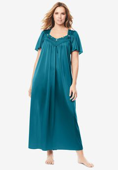Long Silky Lace-Trim Gown by Only Necessities®, DEEP TEAL