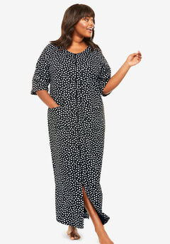 Long French Terry Zip-Front Robe by Dreams & Co.®, BLACK WHITE SPOTS