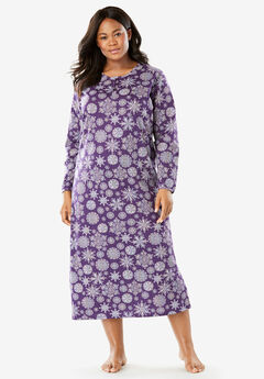 Holiday Print Sleepshirt by Dreams & Co.®, RICH VIOLET SNOWFLAKE