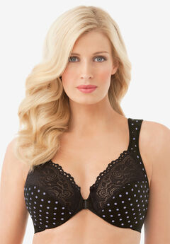 Front-Hook Stretch Lace Wonderwire® Bra by Glamorise®, DOT PRINT
