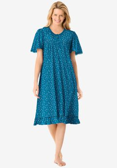 Short Floral Print Cotton Gown by Dreams & Co.®, DEEP TEAL DITSY