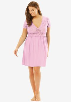 Lace Babydoll Gown by Amoureuse®, PINK, hi-res
