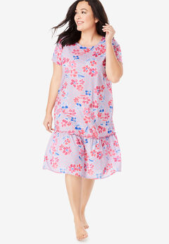 Cool Dreams Peplum Sleep Shirt by Dreams & Co.®, RASPBERRY SORBET FLORAL