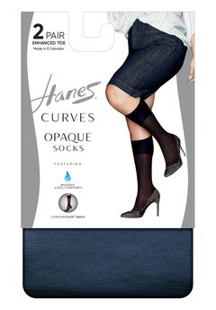Curves Opaque Socks 2-Pack,