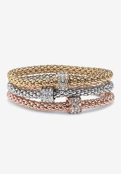 3-Piece Tritone Stretch Bracelet (5.5mm), Round Crystal in Goldtone,
