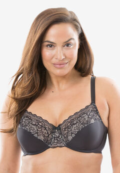 Lace Desire Back-Smoothing Bra by Bali®, BLACK CHAMPAGNE SHIMMER, hi-res