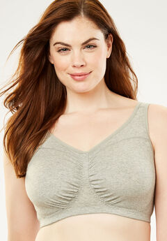 Wireless Ruched Bra by Comfort Choice®, HEATHER GREY