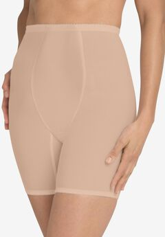High-waist mesh long leg shaper, NUDE