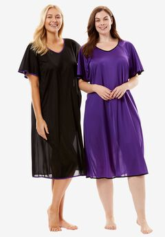 Short tricot knit 2-pack nightgown by Only Necessities®, BLACK ROYAL GRAPE, hi-res