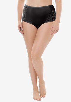 Comfort Choice® Lace-trim Cheeky Boyshort, BLACK, hi-res