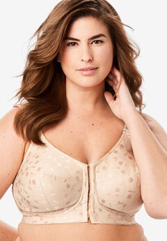 Elila® Jacquard Front-Close Wireless Bra #1515, NUDE