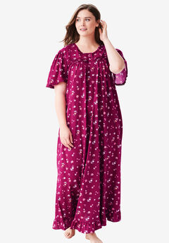 Long Floral Print Cotton Gown by Dreams & Co.®, POMEGRANATE FLOWERS