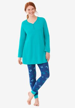 Henley Tunic & Jogger PJ Set by Dreams & Co., EVENING BLUE BUTTERFLY