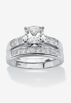 Platinum over Silver Princess Cut Cubic Zirconia Bridal Ring Set,