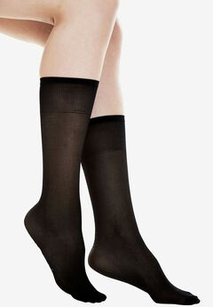 3-Pack Extended Size Support Knee-High by Comfort Choice®, MIDNIGHT BLACK, hi-res