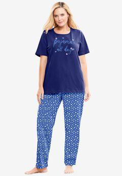 Graphic Tee PJ Set by Dreams & Co®, EVENING BLUE PAJAMAS