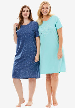 2-Pack Short-Sleeve Sleepshirt by Dreams & Co.®, LETS DREAM