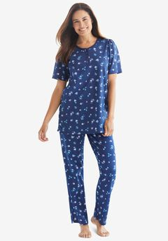 Floral Henley PJ Set , EVENING BLUE FLOWERS