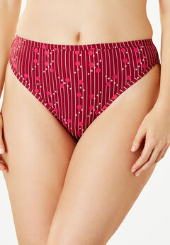 Microfiber Thong by Comfort Choice®, POMEGRANATE STRIPE
