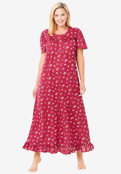 Long Floral Print Cotton Gown , POMEGRANATE FLOWERS