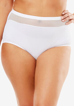 Comfort Choice® Lace-trim Microfiber Brief, WHITE
