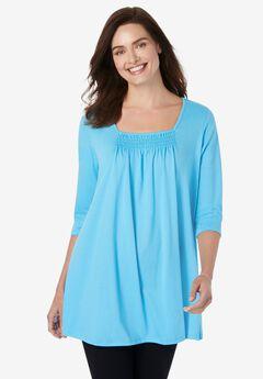 Tie-Dye Smocked Square-Neck Tunic, PARADISE BLUE