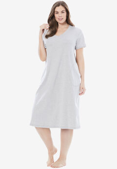 Short V-Neck Lounger by Dreams & Co.®, HEATHER GREY
