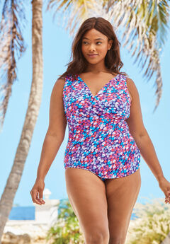 Sarong Surplice One-Piece, MULTI BRIGHT DOT