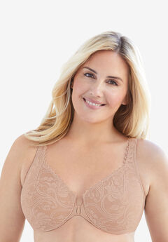 Front-Hook Stretch Lace Wonderwire® Bra from Glamorise®, CAFE