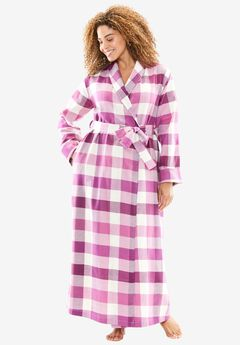 Long Flannel Robe by Dreams & Co.®, BERRY PINK PLAID, hi-res