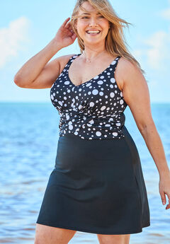 Underwire Swim Dress, BLACK WHITE DOTS