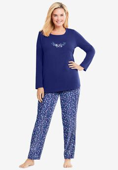 Long Sleeve Knit PJ Set by Dreams & Co.®, EVENING BLUE FLOWERS