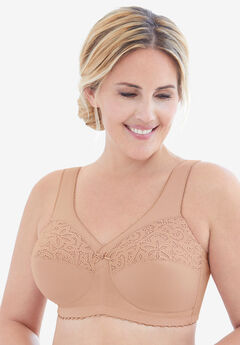 Glamorise® Magic Lift® Cotton Support Wireless Bra #1001, CAFE