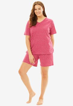 Matching Knit Shorty PJ Set by Dreams & Co.®, BRIGHT BERRY DOT, hi-res
